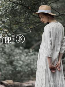 树生活女装白色条纹连衣裙