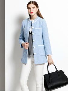 半木女装蓝色休闲圆领外套