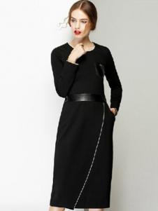 半木女装黑色长袖连衣裙