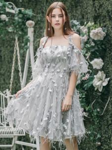 Ruby Fang女装浅灰色抹胸收腰吊带连衣裙