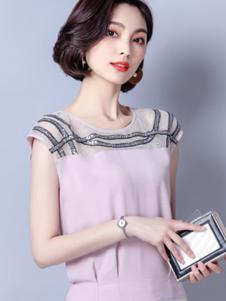 巴薇儿女装粉色网纱无袖T恤