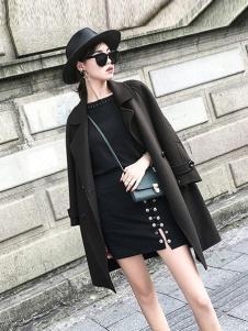 法澜娇人女装深灰色宽松大衣