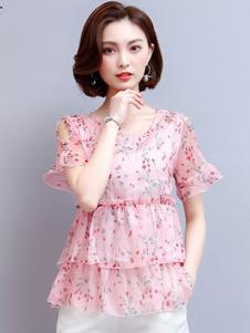 巴薇儿女装粉色碎花T恤