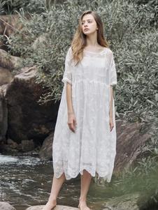 树生活女装白色网纱连衣裙