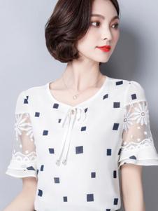 巴薇儿女装白色方块网纱喇叭袖T恤