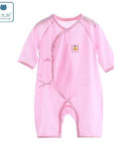 巧尼熊粉色婴儿长袖连体系带哈衣爬服