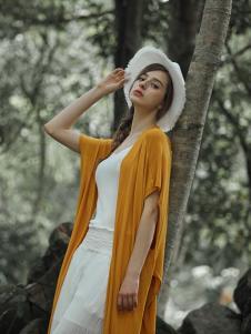 树生活女装黄色短袖长款外套