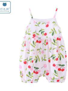巧尼熊樱桃红色婴儿背带裤