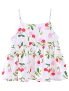 巧尼熊樱桃红色婴儿吊带裙