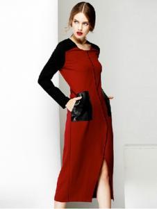 半木女装红色开叉连衣裙