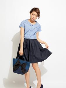 PICCIN女装蓝色短袖上衣