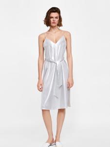 Zara女装灰色吊带连衣裙