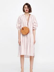 Zara女装白色条纹长款衬衫