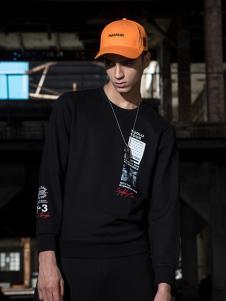 TUOLU TOUR男装黑色印花卫衣