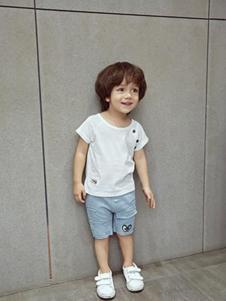 小猪宾果童装白色圆领T恤