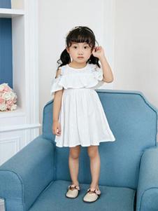 小猪宾果童装白色露肩女裙