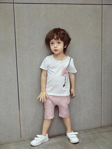 小猪宾果童装白色印花T恤