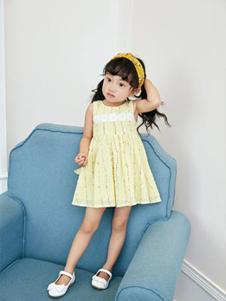 小猪宾果童装黄色无袖女裙