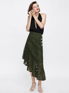 Zara女装绿色蕾丝燕尾裙