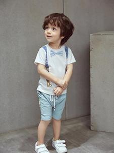 小猪宾果童装白色印花蝴蝶结上衣