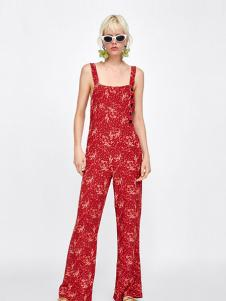 Zara女装红色印花吊带连体休闲裤