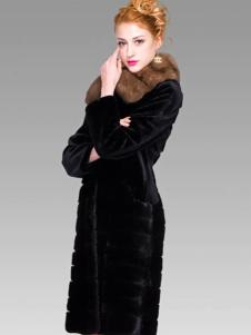 巴纳奥女装黑色长款皮草外套