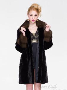 巴納奧女裝黑色皮草外套
