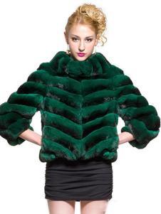 巴纳奥女装绿色高领皮草外套
