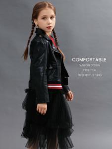 2018YukiSo女童黑色皮衣