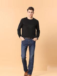 男人智造男装中蓝直筒牛仔裤