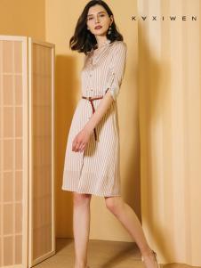 2018佧茜文女装收腰连衣裙