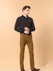 男人智造男装黄色直筒休闲裤