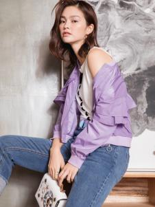 2018布根香女装浅紫色外套