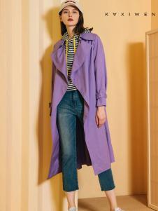 2018佧茜文女装紫色风衣