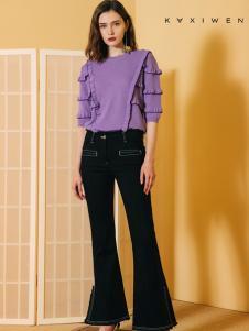 2018佧茜文女装紫色上衣