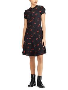 拉夫劳伦女装黑色樱桃连衣裙