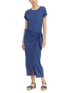 拉夫劳伦女装蓝色侧边系带连衣裙