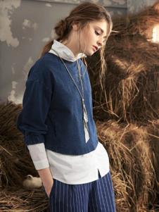 私人衣橱女装藏青圆领针织衫