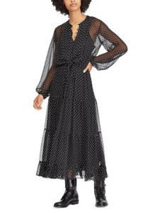 拉夫劳伦女装黑色波点连衣裙
