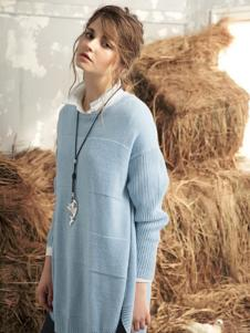私人衣橱女装蓝色长款针织衫