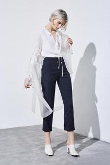 esons女装白色系带衬衫