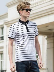 袋鼠男装黑白条纹polo衫