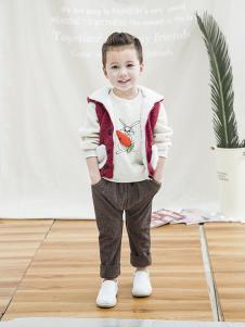 兔子杰罗童装2018秋季外套加绒衣加厚保暖上衣套头