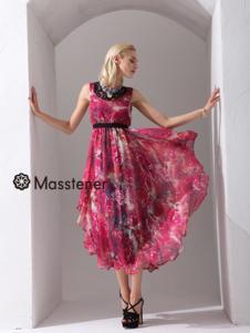 玛士天纳女装印花雪纺连衣裙