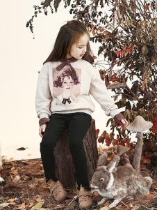 兔子杰罗童装2018秋季新款印花白色套头中童卫衣