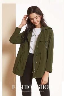 春美多女装绿色带帽外套