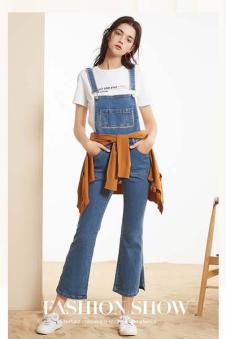 春美多女装背带牛仔休闲裤