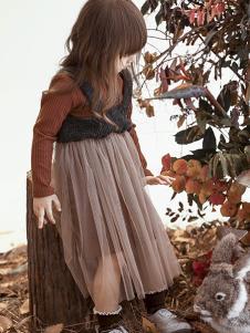 兔子杰罗童装2018秋季纯色简约百搭网纱半身裙裤