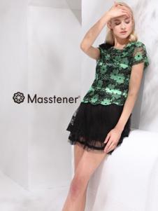 玛士天纳女装黑色印花蕾丝上衣