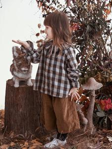 兔子杰罗童装2018秋季小童格子上衣垮裤裤子薄中裤